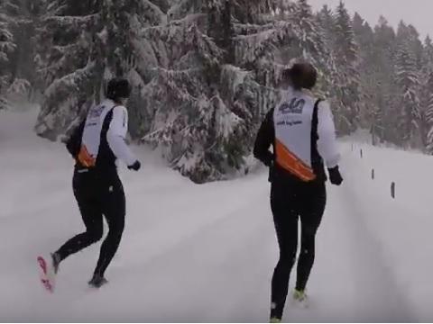 Das raskt tog team unterwegs im Schnee